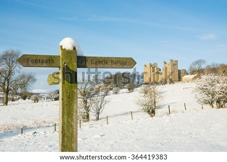 Footpath sign to Castle Bolton in Wensleydale in the Yorkshire Dales - stock photo