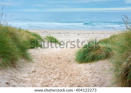 Footpath through sand dunes to the sea with blue sky ahead - stock photo
