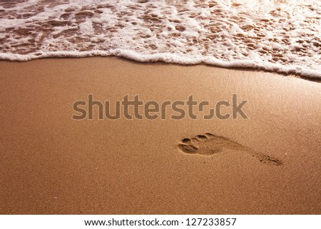 Footprint in the sand on the beach - stock photo