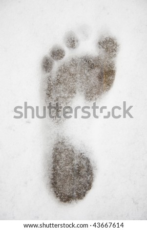 Footprint in the snow at the sauna - stock photo