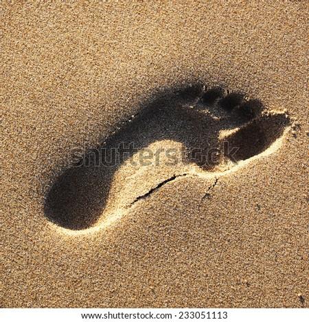 Footprint on the beach - stock photo