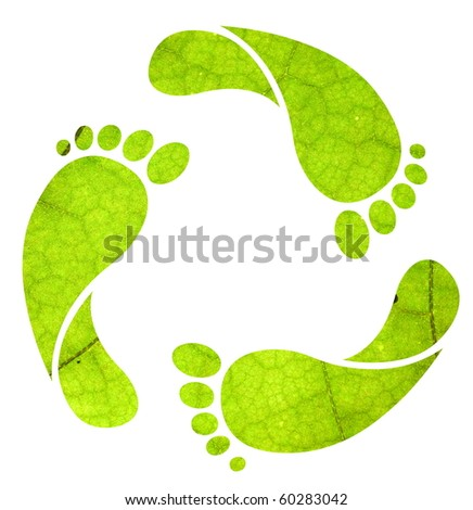 Footprint recycle sign isolated on white with green leaf texture - stock photo