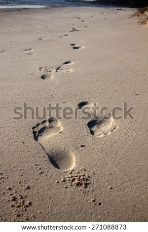Footprints in beach sand going in opposite directions.  Very shallow depth of field - focus is on the toes of the first print. - stock photo