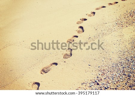Footprints in the sand and dry autumn leaves - stock photo