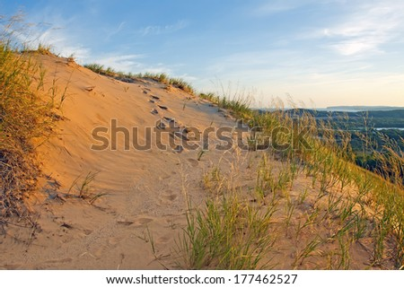 Footprints in the sand at Sleeping Bear Dunes National Lakeshore on the shores of Lake Michigan,Michigan State,USA. - stock photo
