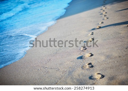 footprints in the sand by the sea - stock photo