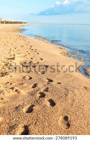 Footprints on golden sand of Egyptian morning beach. Summertime multicolored outdoors image - stock photo