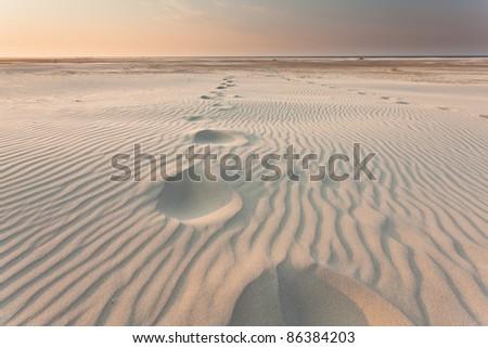 Footprints on the beach - stock photo