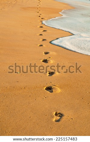 Footsteps in the beach  - stock photo