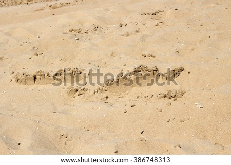 Footsteps in the  sandy dunes  near the Indian Ocean at  isolated Buffalo Beach near Bunbury Western Australia on a calm  tranquil spring  morning. - stock photo