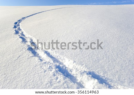 footsteps of an hiker in fresh powder snow - stock photo