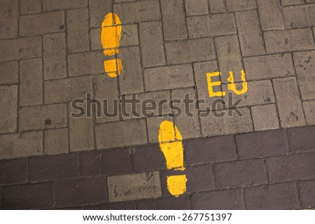Footsteps to the European Union. Direction sign in the EU headquarter in Brussels, Belgium.  - stock photo