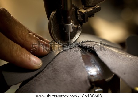 footwear part with single row stitching operation - stock photo
