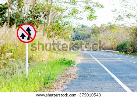 For Background : No Passing sign on the Mountain Road - stock photo