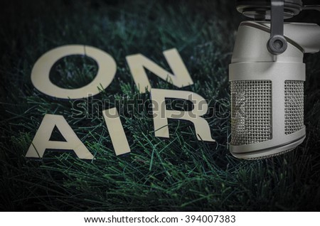 for eco, nature, environment radio show - Microphone on air - stock photo
