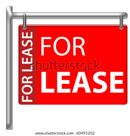 For Lease Sign in red color - stock photo