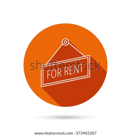 For rent icon. Advertising banner tag sign. Round orange web button with shadow. - stock photo