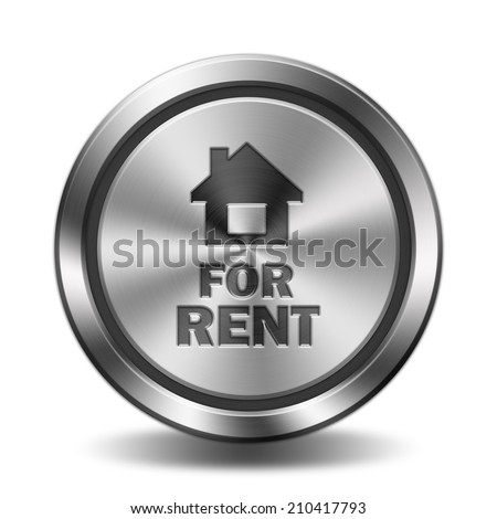 For rent icon. Circular button with glossy metal steel texture.  - stock photo