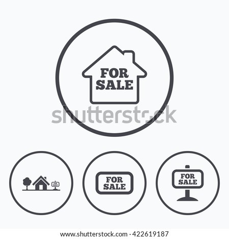 For sale icons. Real estate selling signs. Home house symbol. Icons in circles. - stock photo