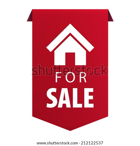 For Sale ribbon banner icon Real estate symbol isolated on white background. illustration - stock photo