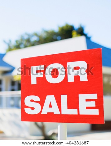 for sale sign at luxury house  - stock photo