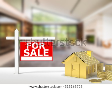 for sale sign at luxury house background - stock photo