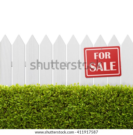 For sale sign on white wooden fence isolated on white background with copy space - stock photo