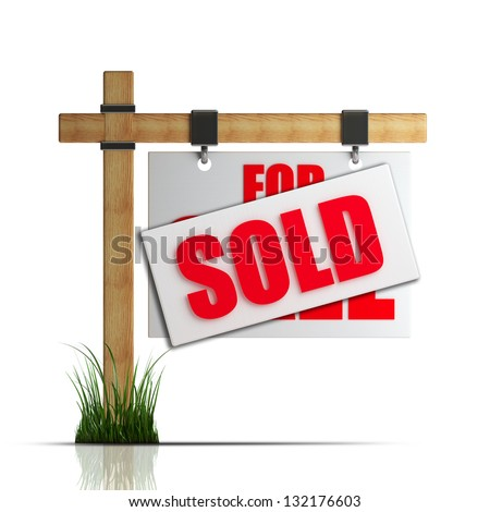 For sale (SOLD) sign Isolated on white background High resolution 3d render - stock photo