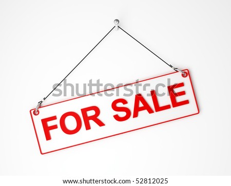 for sale  white and red signal board 3d background - stock photo