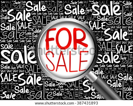 FOR SALE word cloud with magnifying glass, business concept - stock photo