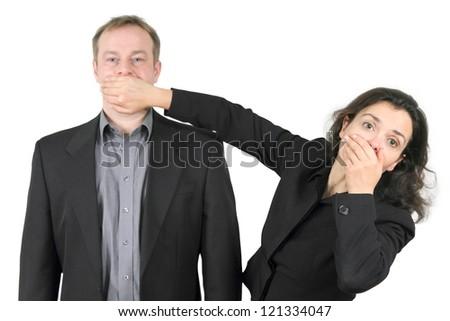 forbidden to speak - stock photo