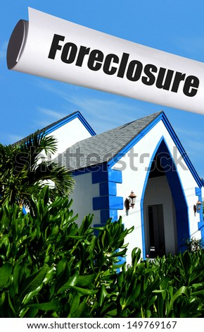 foreclosure on home in tropical location - stock photo