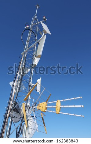 foreground of a TV  antenna for a telecommunications tower - stock photo