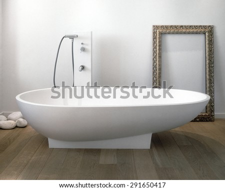 foreground of bathtub in the modern bathroom with wood floor - stock photo