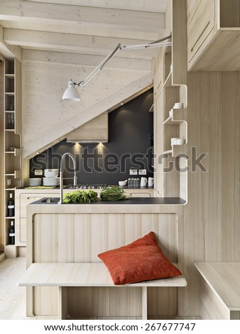 foreground on a wooden modern kitchen island in the attic room  - stock photo