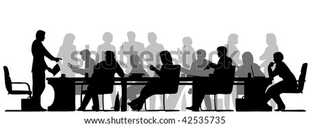 Foreground silhouette of people in a meeting - stock photo