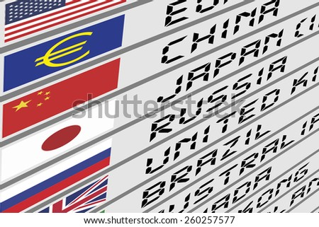 Foreign Currency Exchange Digital Display Panel with Flags and Names of Each Countries - stock photo