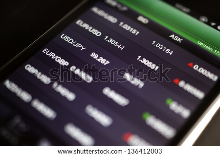 Foreign exchange market chart at smart phone - stock photo