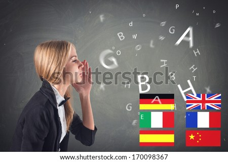 Foreign Language. Concept - learning, speaking, travel - stock photo