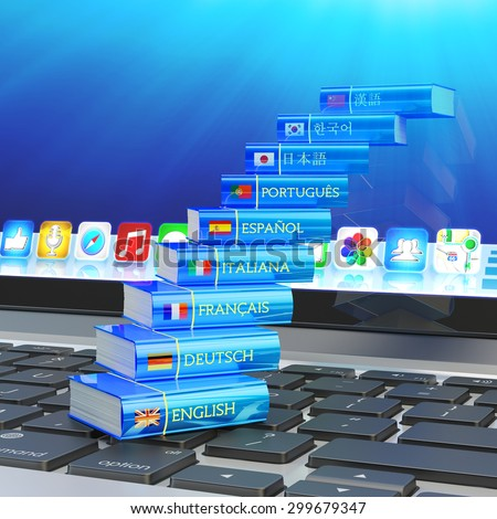 Foreign languages learn and translate education concept, stairs from books with flags of world countries on computer laptop keyboard - stock photo