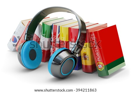 Foreign languages learning and translate, communication and education concept, audio books with covers in colors of national flags of world countries and modern headphones isolated on white - stock photo