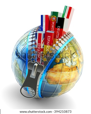 Foreign languages learning and translation concept, online translator icon, books in colors of national flags of world countries inside Earth globe with zipper isolated on white (Elements  by NASA) - stock photo