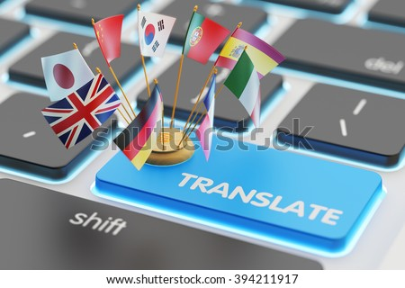 Foreign languages translation concept, online translator, macro view of computer keyboard with national flags of world countries on blue translate button - stock photo