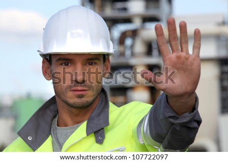 Foreman restricting access - stock photo