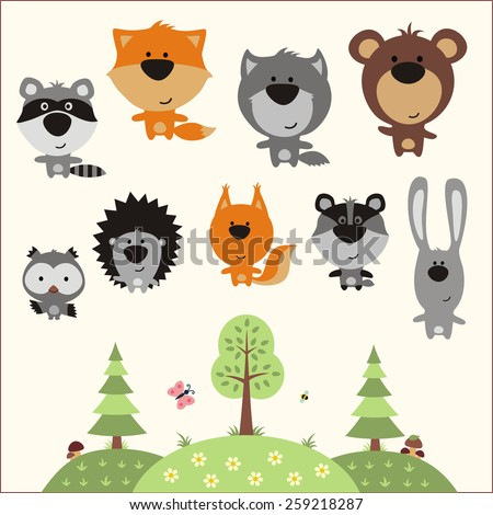 Forest animals - stock photo