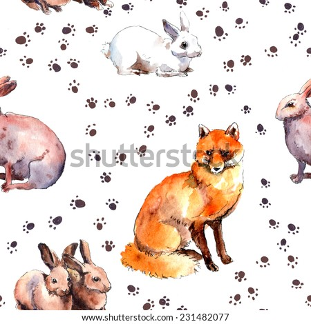 Forest animals: rabbits and fox. Wild animal pattern with foot print. Repeating watercolour sketch - stock photo