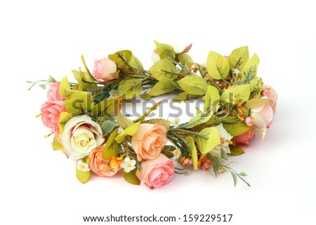 forest coronal or colorful fake flower crown isolated on white background - stock photo