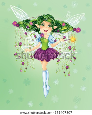 Forest Fairy with Green Hair. Raster. - stock photo