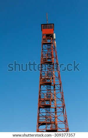 Forest Fire Lookout Tower, 110 feet high, is located now in Duncannon, Dauphin County, Pennsylvania. - stock photo