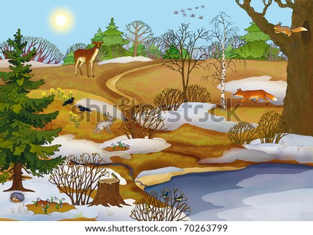forest landscape with a lake and animals in spring - stock photo